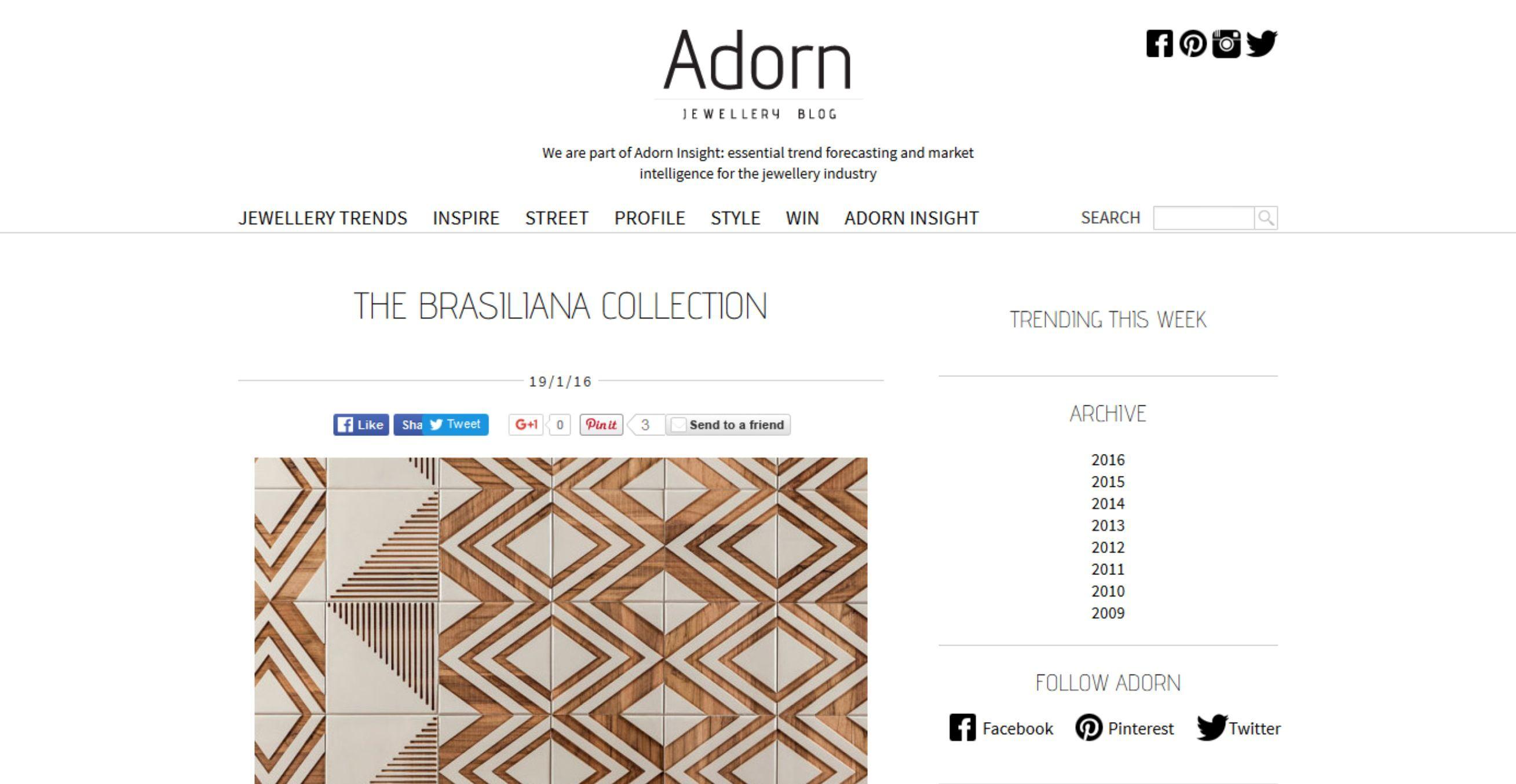 Adorn Jewerly (Inglaterra) | Coleção Brasiliana
